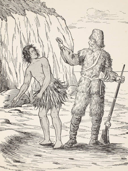 Tropical Drawing - Robinson Crusoe And Friday by English School
