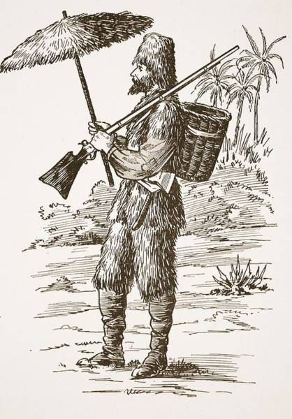 Shipwreck Drawing - Robinson Crusoe, Illustration From The by English School