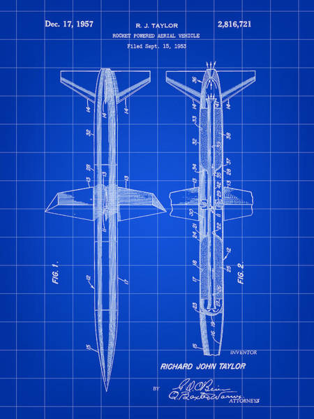 Weaponry Digital Art - Rocket Patent 1953 - Blue by Stephen Younts