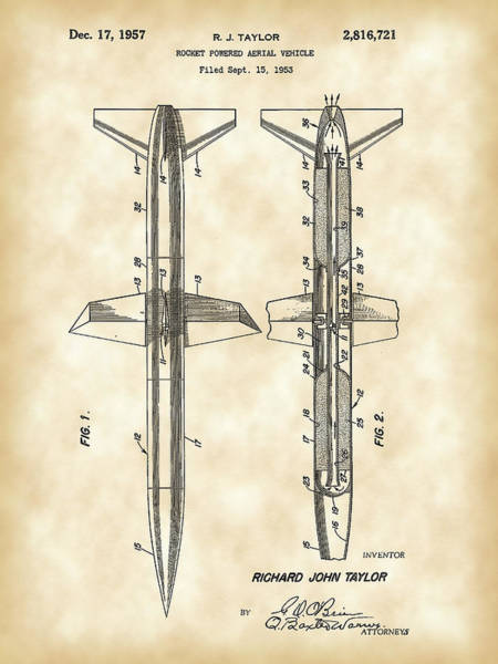 Weaponry Digital Art - Rocket Patent 1953 - Vintage by Stephen Younts