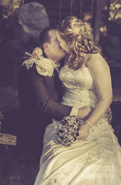 Wedding Bouquet Photograph - Romantic Bride And Groom Kissing Outdoors by Jorgo Photography - Wall Art Gallery