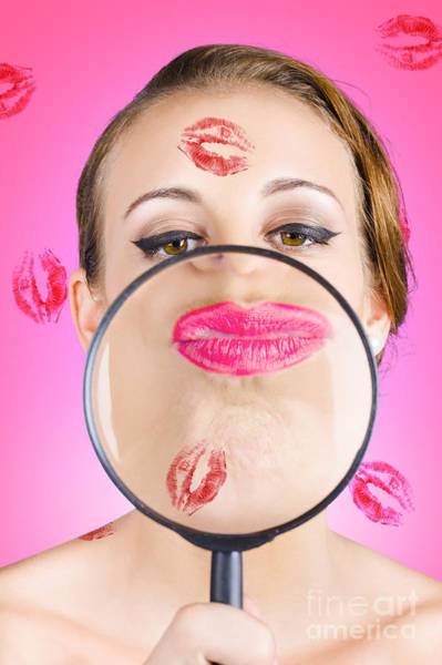 Make Love Wall Art - Photograph - Romantic Makeup Woman Looking At Lips by Jorgo Photography - Wall Art Gallery