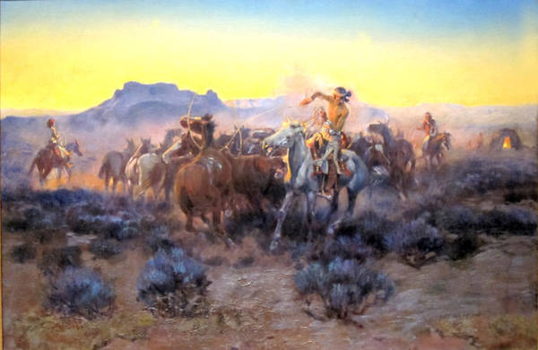 Mounted Digital Art - Roping Fresh Mounts by Charles Russell