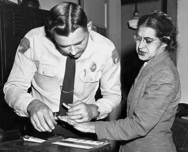 Dressmaker Wall Art - Photograph - Rosa Parks Gets Fingerprinted by Underwood Archives
