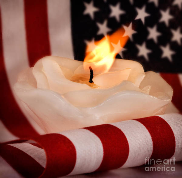Wall Art - Photograph - Rose Candle On American Flag by Iris Richardson