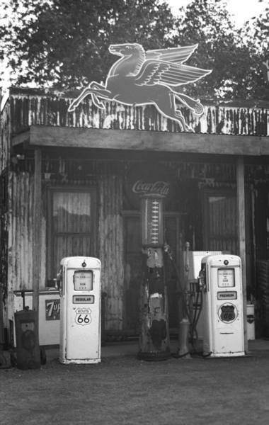 Photograph - Route 66 Vintage Pumps 2007 Bw by Frank Romeo