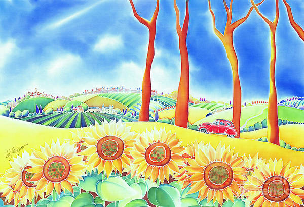 Painting - Route Of Sun Flowers by Hisayo Ohta