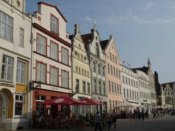 German Food Photograph - Row Of Historical Houses Along Street by Panoramic Images