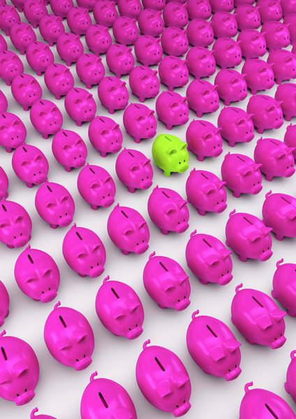 Wall Art - Photograph - Rows Of Pink Piggy Banks With One Green by Ikon Ikon Images