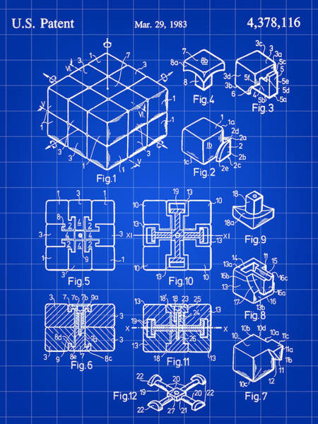 Rotating Digital Art - Rubik's Cube Patent 1983 - Blue by Stephen Younts