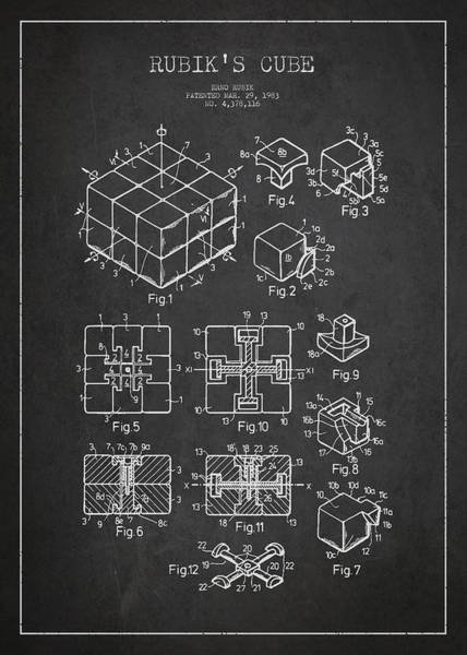 Chopper Wall Art - Digital Art - Rubiks Cube Patent by Aged Pixel