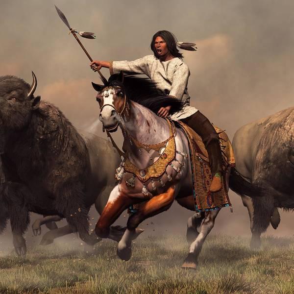 Digital Art - Running With Buffalo by Daniel Eskridge