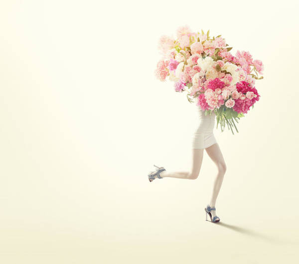 Running Women With Giant Bunch Of Flowers Art Print by Vizerskaya