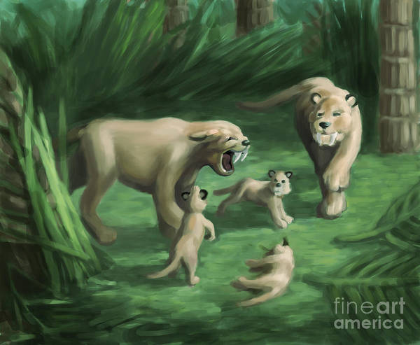 Smilodon Wall Art - Photograph - Saber-toothed Cat Family, Illustration by Spencer Sutton