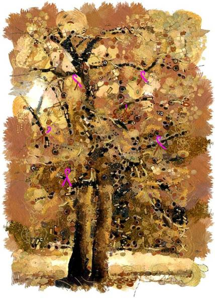 Saffron Digital Art - Saffron Colored Tree With Pink Cancer Awareness Ribbons by Paul Safran