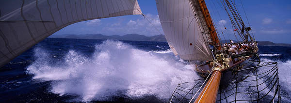 Rigging Photograph - Sailboat In The Sea, Antigua, Antigua by Panoramic Images