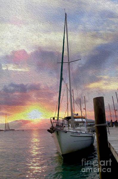 Sunset Mixed Media - Sailboat by Jon Neidert