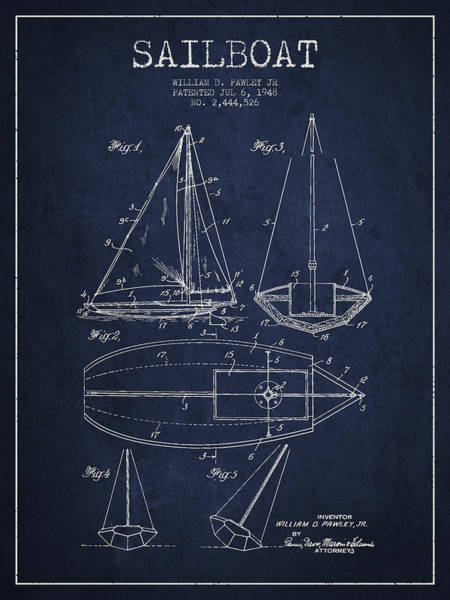 Sails Digital Art - Sailboat Patent Drawing From 1948 by Aged Pixel