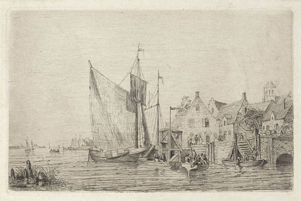 Wall Art - Drawing - Sailing Ships And Boats At The Wharf In A Village by Henri Adolphe Schaep