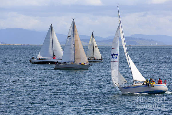 Racing Yacht Photograph - Sailing Yachts In A Close Race by Louise Heusinkveld