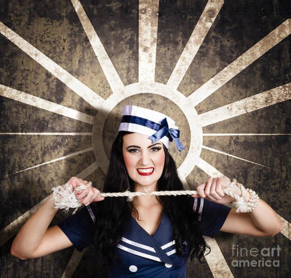 Photograph - Sailor Girl Portrait. Vintage Design Background by Jorgo Photography - Wall Art Gallery