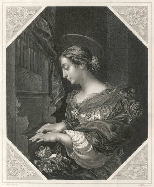 Dolce Wall Art - Drawing - Saint Cecilia   Roman Saint And Martyr by Mary Evans Picture Library