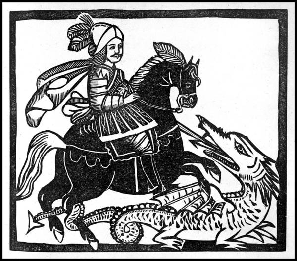 Folklore Drawing - Saint George Thrusts His Lance by Mary Evans Picture Library