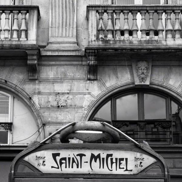 Monochrome Photograph - Saint Michel Metro by Georgia Fowler
