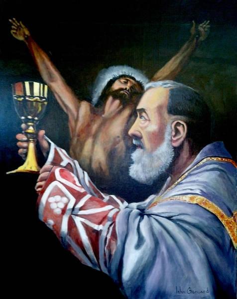 Padre Pio Wall Art - Painting - Padre Pio At Mass by John Genuard
