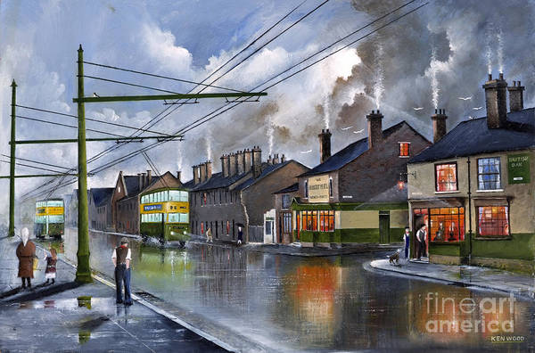 Painting - Salop Street Dudley C 1950 by Ken Wood