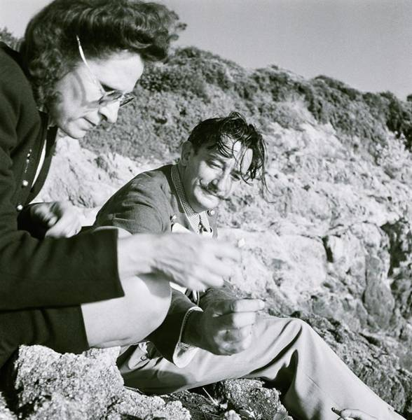 Middle Aged Photograph - Salvador And Gala Dali On Rocks by Horst P. Horst