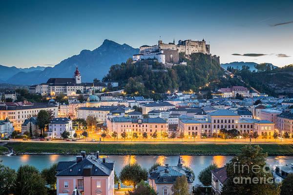 Wall Art - Photograph - Salzburg Blue Hour by JR Photography