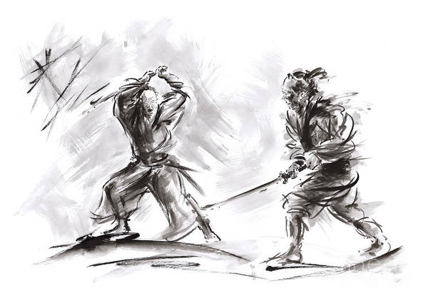 Wall Art - Painting - Samurai Fight. by Mariusz Szmerdt
