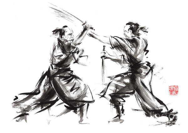 Wall Art - Painting - Samurai Sword Bushido Katana Martial Arts Budo Sumi-e Original Ink Sword Painting Artwork by Mariusz Szmerdt