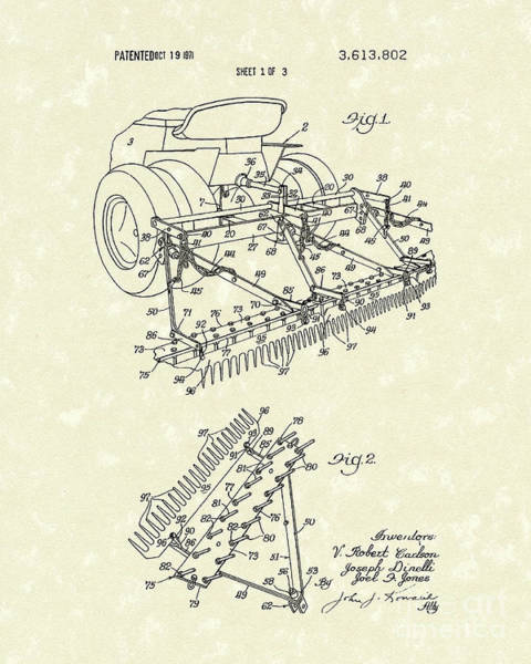 Drawing - Sand Trap Rake 1971 Patent Art by Prior Art Design