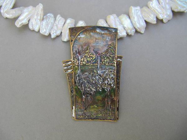 Freshwater Pearls Wall Art - Jewelry - Sandhill Cranes by Brenda Berdnik