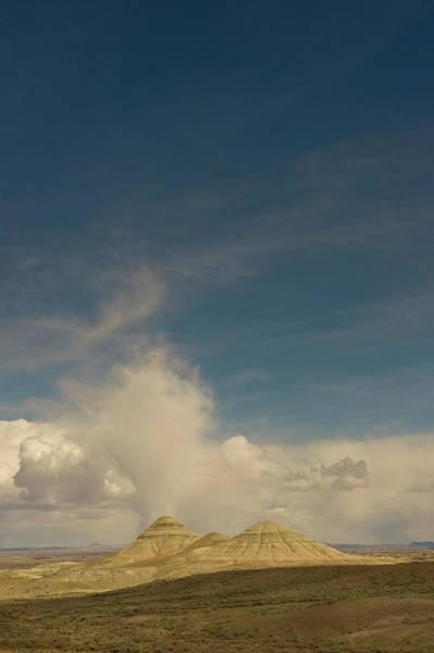 Cumulus Photograph - Sandstone Buttes (badlands by Howie Garber