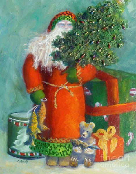 Painting - Santa With Fish by Carolyn Jarvis