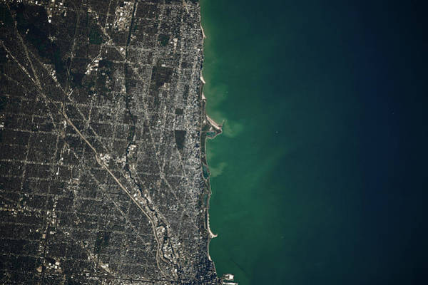 Iss Photograph - Satellite View Of Chicago And Lake by Panoramic Images