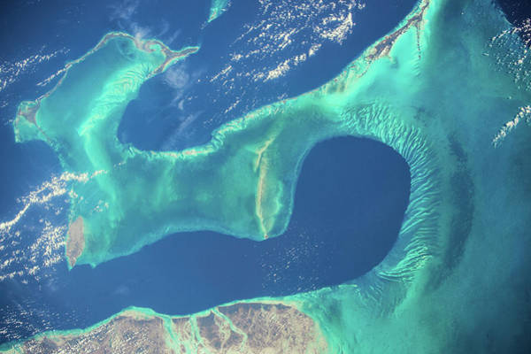 Iss Photograph - Satellite View Of Islands Of Bahamas by Panoramic Images
