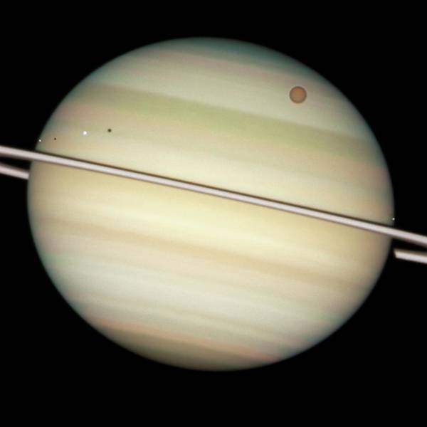 Dione Photograph - Saturn And Moon Transits by Nasa/esa/hubble Heritage Team (stsci/aura)/science Photo Library