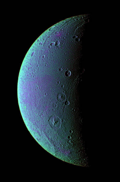 Dione Photograph - Saturn's Moon Dione by Nasa/jpl/space Science Institute/science Photo Library