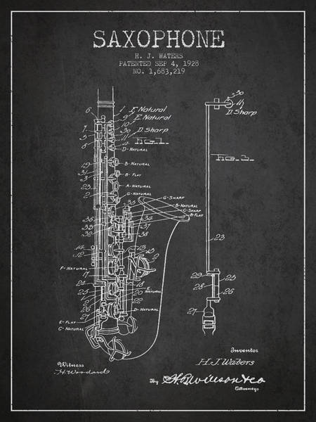 Wall Art - Digital Art - Saxophone Patent Drawing From 1928 by Aged Pixel