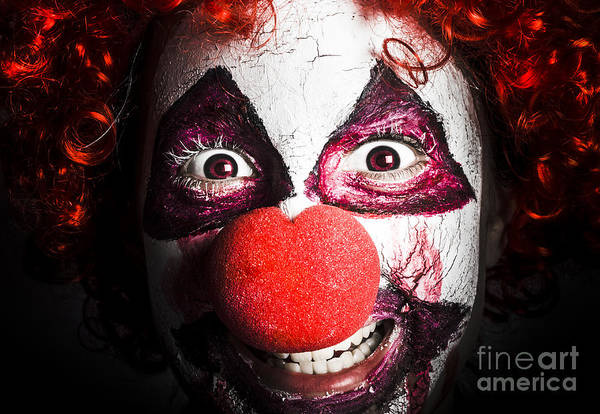 Photograph - Scary And Evil Clown Smiling In Dark Spooky Style by Jorgo Photography - Wall Art Gallery