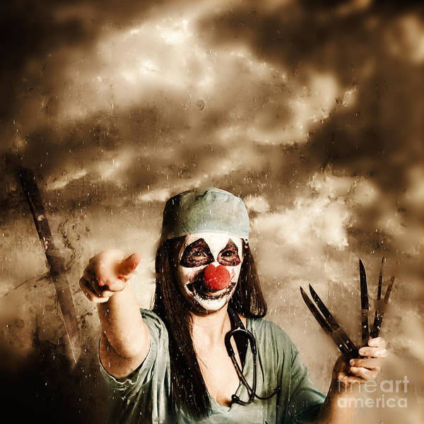 Throwing Wall Art - Photograph - Scary Clown Doctor Throwing Knives Outdoors by Jorgo Photography - Wall Art Gallery