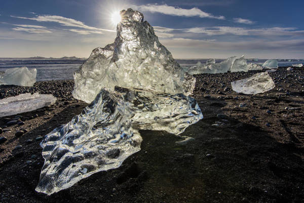 Wall Art - Photograph - Scattered Ice From Icebergs On Black by Chuck Haney