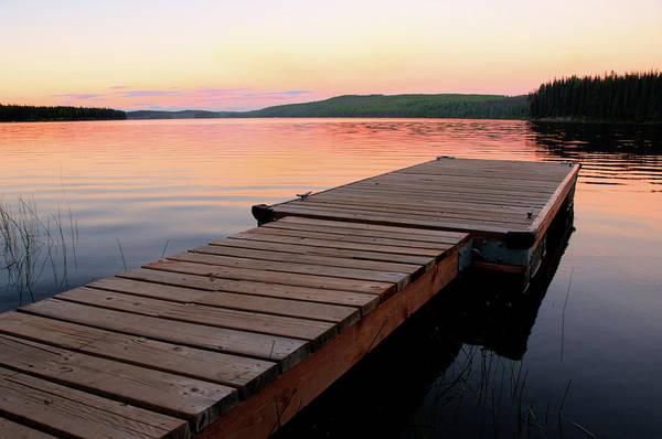 Kelowna Wall Art - Photograph - Scenic Lake And Dock At Sunset by Wildroze