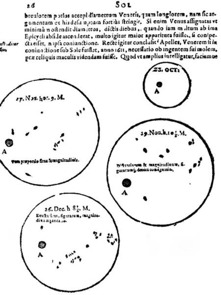 First Star Photograph - Scheiner's Sunspot Observations by Royal Astronomical Society/science Photo Library