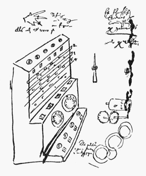 German Renaissance Drawing - Schickard Calculator by Granger