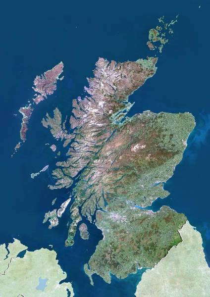 Wall Art - Photograph - Scotland, Uk, Satellite Image by Science Photo Library